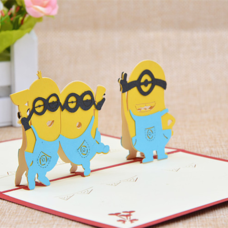 Childrens Creative Birthday Card Cartoon Paper Carved Three Dimensional Greeting Cute Little Yellow People Blessing Custom