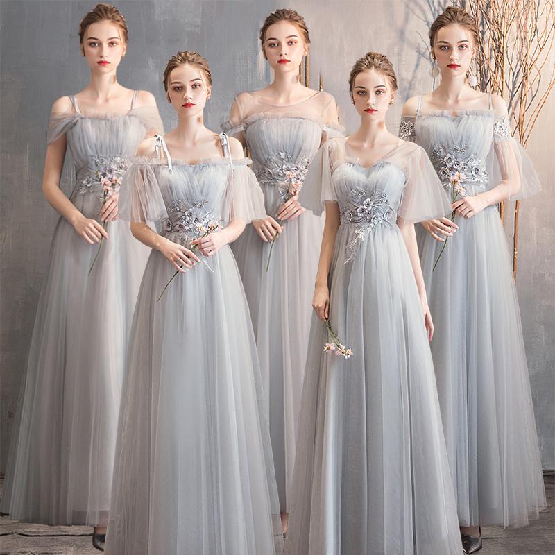 伴娘服2019新款冬季灰色闺蜜装宴会气质长款姐妹团年会晚礼服裙女