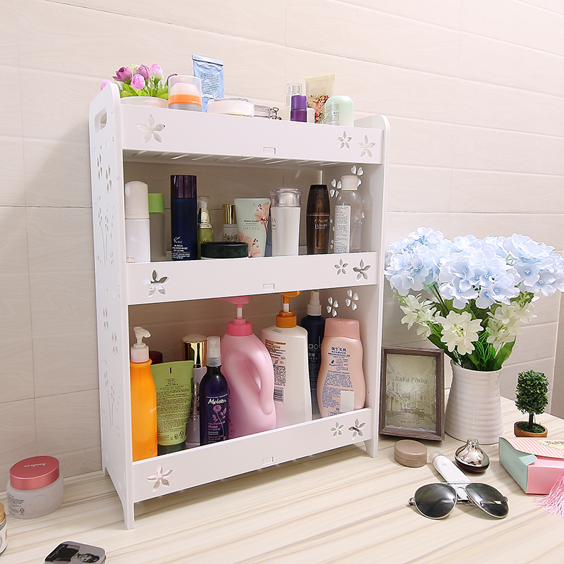 USD 21.02] Bathroom bathroom shelf floor cosmetic storage shelf ...