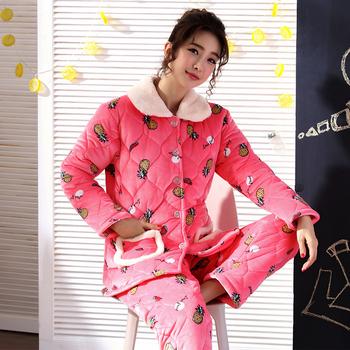 珊瑚绒睡衣男女棉袄法兰绒家居服套装