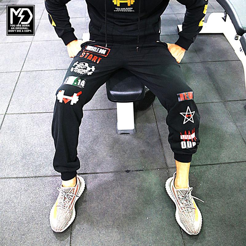 Брюки спортивные muscledog мышцы собаки новый зимний приток людей в фитнес-тренировочные брюки спорт бег брюки