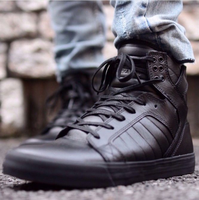 get cheap 92e7e 44d28 Mumba Supra Skytop HF all black warrior Red Bottom full cowhide material  autumn and winter high-top men s shoes