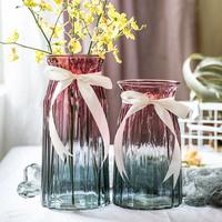 [小清] новый [透明玻璃花瓶 ins欧式水培插花瓶客厅] разноцветный [摆件家居干花瓶]