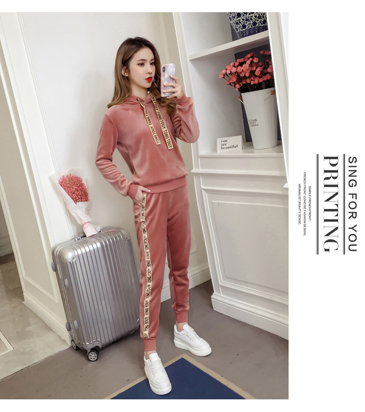 Plus plush plus thick gold velvet sports suit women's 2020 autumn/winter new loose hooded casual wear two-piece set tide 53 Online shopping Bangladesh
