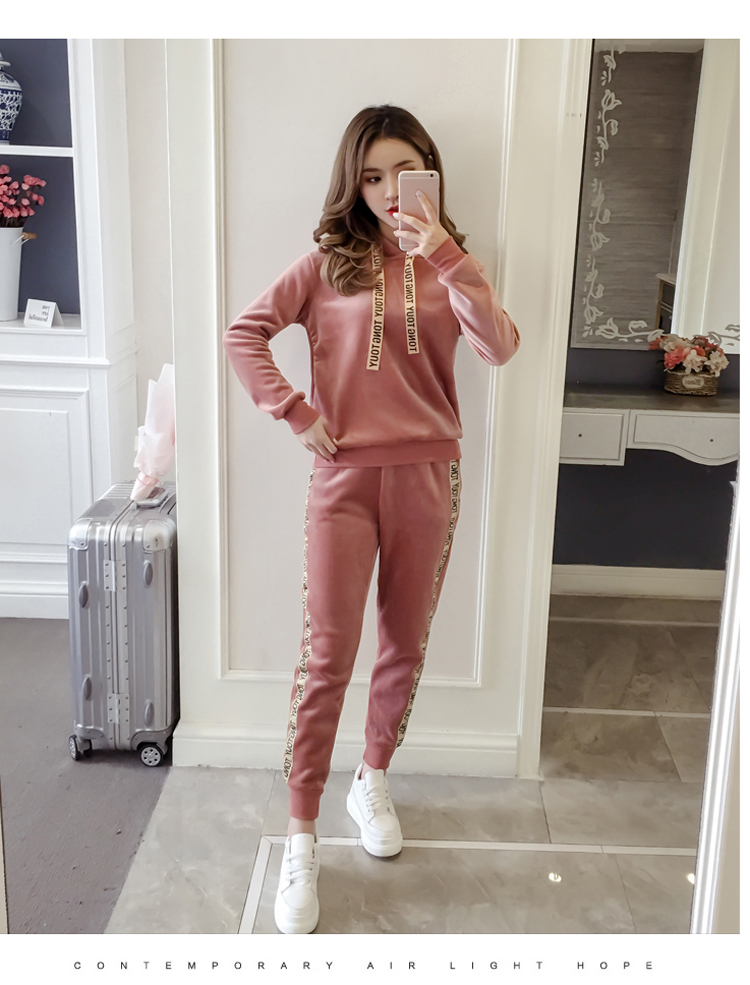 Plus plush plus thick gold velvet sports suit women's 2020 autumn/winter new loose hooded casual wear two-piece set tide 56 Online shopping Bangladesh