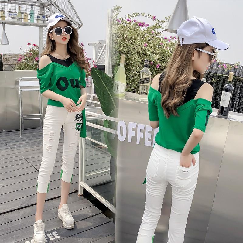 2018俏皮套装女两件套韩版学生学院风时尚气质百搭可爱夏活泼甜美