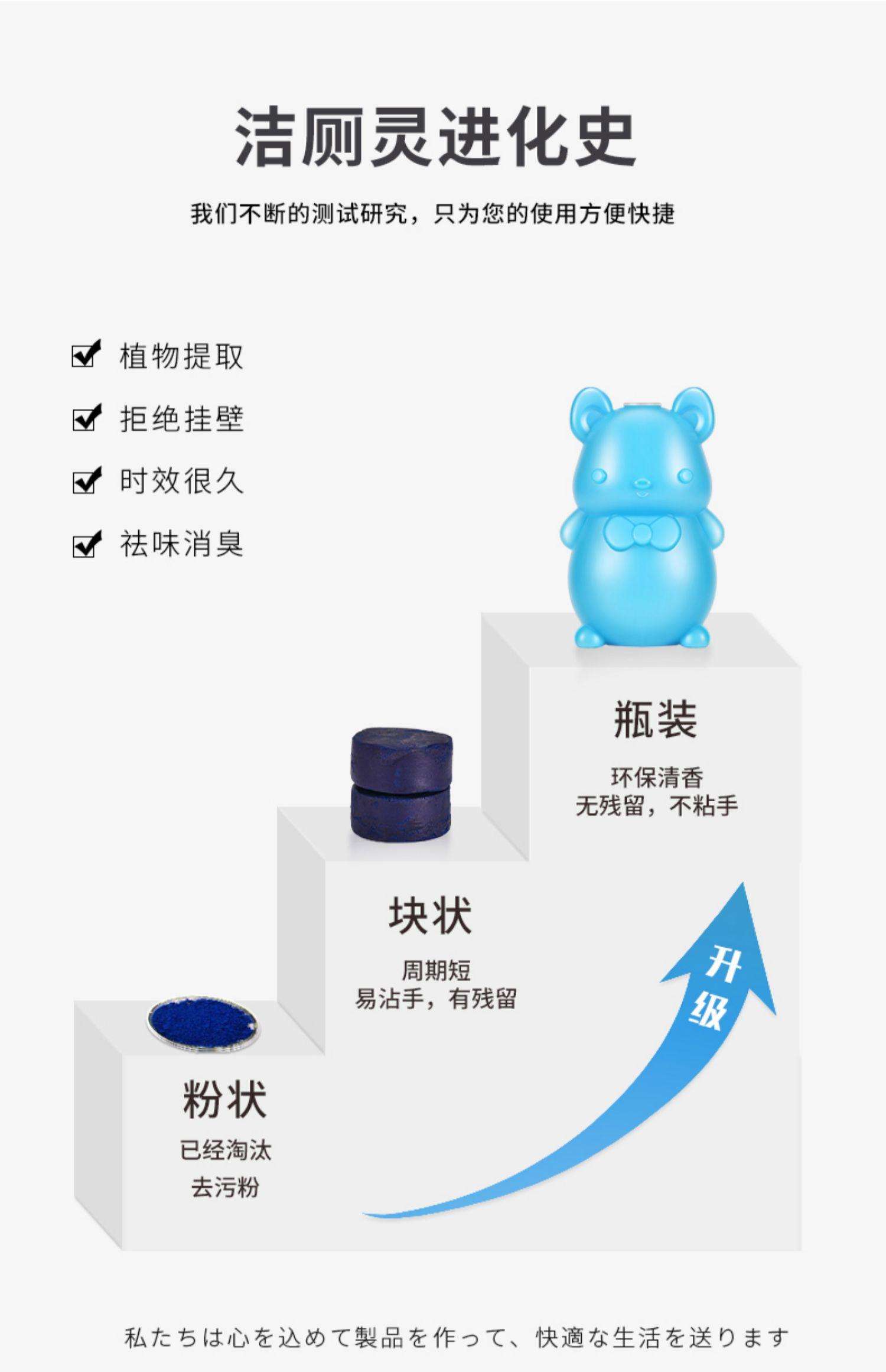 洁厕灵蓝泡泡马桶除臭去异味神器厕所家用卫生间清香型清洁剂宝液商品详情图