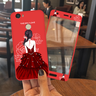 Send steel film Huawei nova mobile phone shell CAZ-AL10 soft silicone red TL1O all-inclusive drop TL20 female models