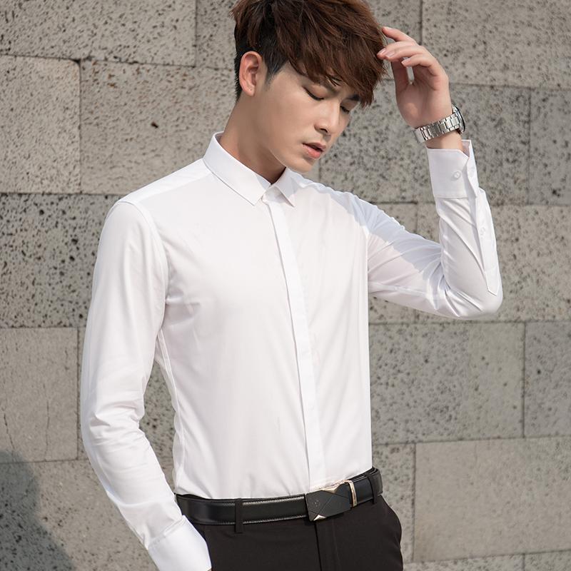 衬衫白青年男商务韩版修身免烫秋冬v衬衫抗皱寸衫长袖白衬衣职业装