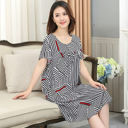 Middle aged and old people's cotton silk nightdress women's summer silk thin skirt can wear rayon pajamas, mother's and grandmother's dresses