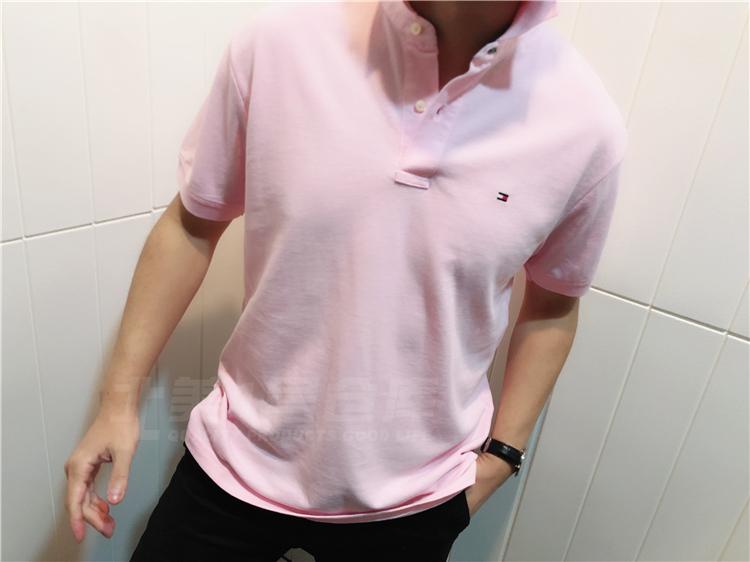 TOMMY HILFIGER của nam giới mới màu rắn LOGO ngắn tay áo polo TM4-2 polo trắng