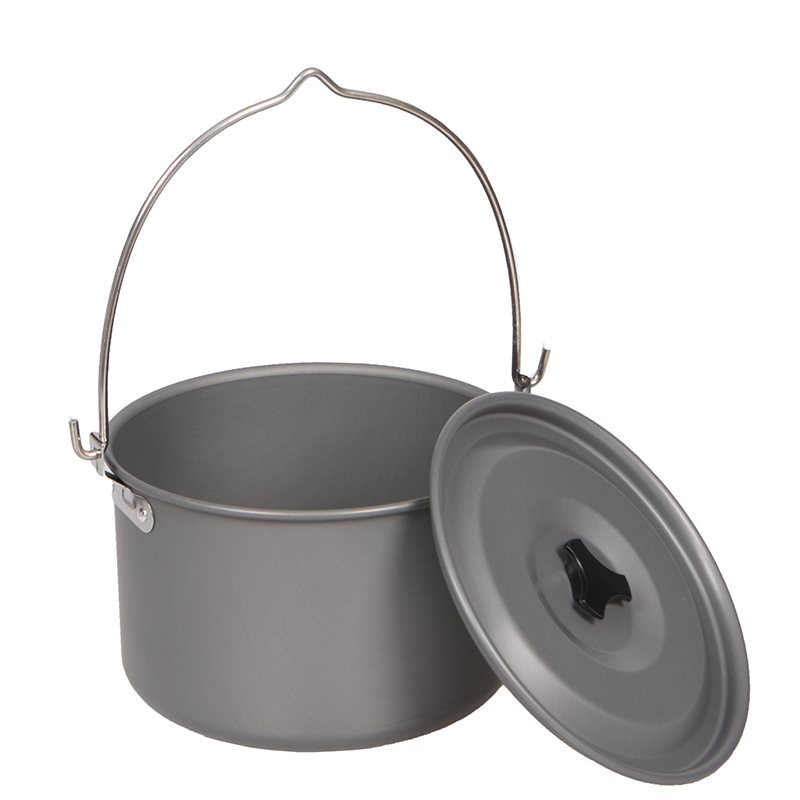 Outdoor camping picnic camp single pot camp pot large hanging pot 6-8 people cooking pot cooking utensils pot camping with camping