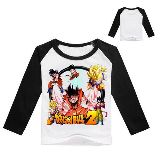 Dragon Ball Z Saiyan Son Goku Grow up Boys Long Sleeve T-shirt Children Clothes