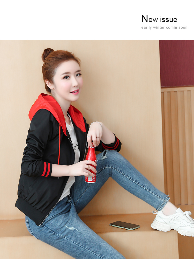 Casual hooded short jacket lady a hundred with spring and autumn 2020 new zip jacket clothes small 59 Online shopping Bangladesh