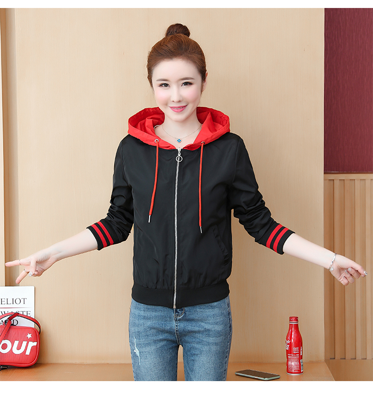 Casual hooded short jacket lady a hundred with spring and autumn 2020 new zip jacket clothes small 60 Online shopping Bangladesh