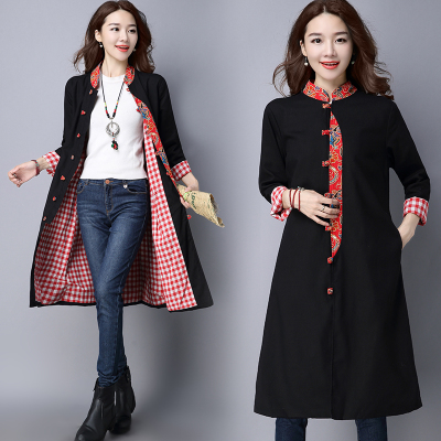2018 autumn new national wind jacket large size women loose cotton and linen printing in the long section of China windbreaker spring