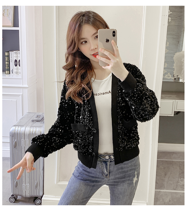 Autumn/Winter 2020 new Korean version of the fashion heavy nail sequin top loose show thin short line button jacket female tide 58 Online shopping Bangladesh