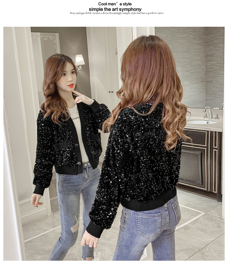 Autumn/Winter 2020 new Korean version of the fashion heavy nail sequin top loose show thin short line button jacket female tide 50 Online shopping Bangladesh
