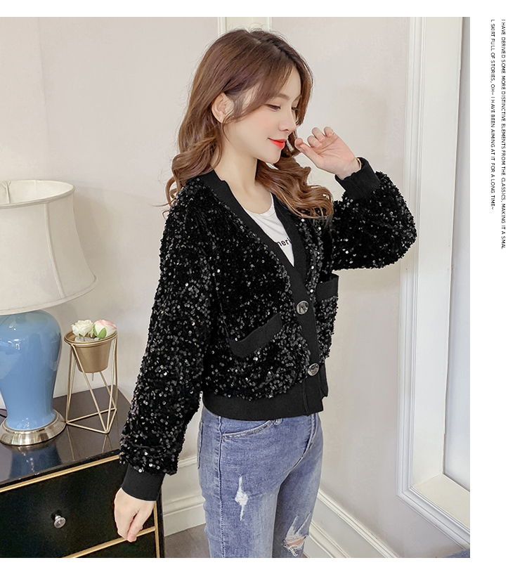 Autumn/Winter 2020 new Korean version of the fashion heavy nail sequin top loose show thin short line button jacket female tide 59 Online shopping Bangladesh