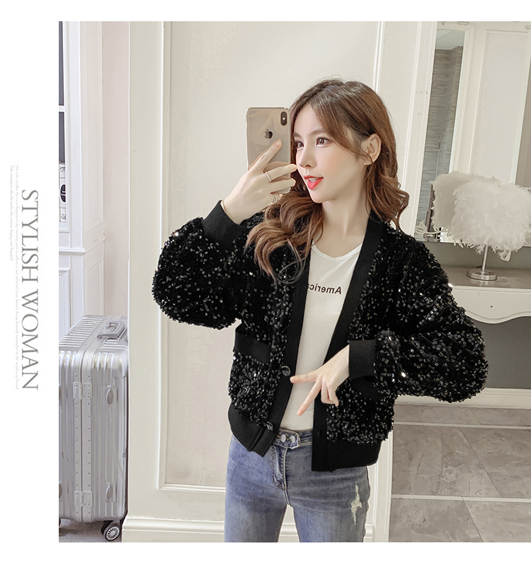Autumn/Winter 2020 new Korean version of the fashion heavy nail sequin top loose show thin short line button jacket female tide 51 Online shopping Bangladesh