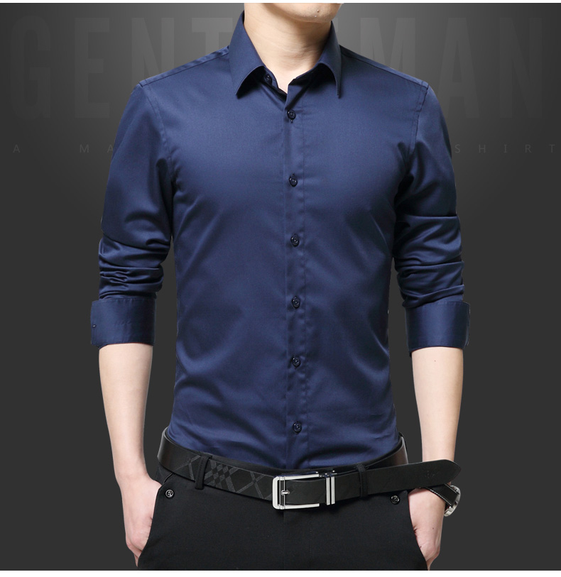 Mùa xuân và mùa thu mercerized cotton nam dài tay áo sơ mi giản dị Hàn Quốc phiên bản của áo Slim-miễn phí mỏng áo sơ mi nam thanh niên đen áo sơ mi trắng form rộng