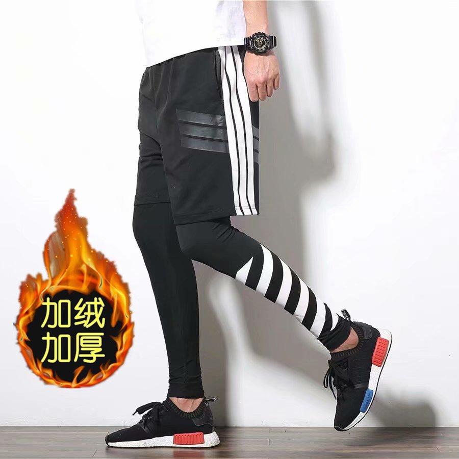 跑男同款紧身裤裤子短裤嘻哈裤潮跑步运动健身裤打底假两件套装男
