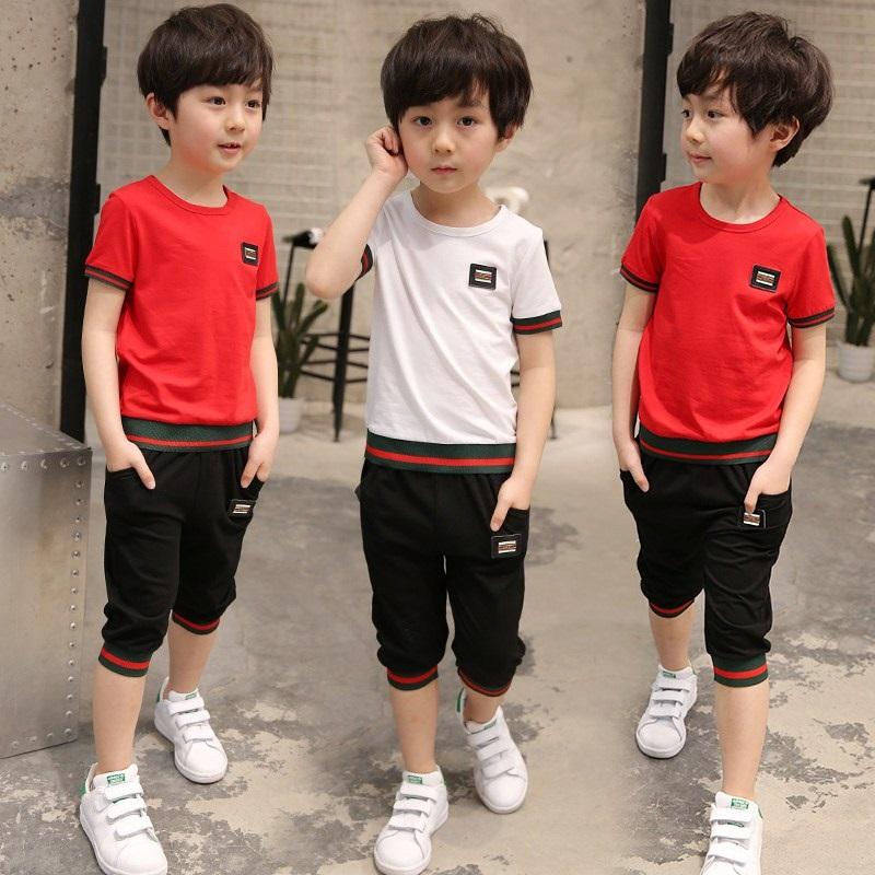 夏季男童新款韩版休闲短袖两件套