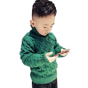 冬季男童加绒舒适高领毛衣
