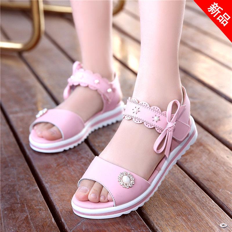 女童凉鞋中大童公主凉鞋2019新款儿童凉鞋韩版小女孩软底学生凉鞋
