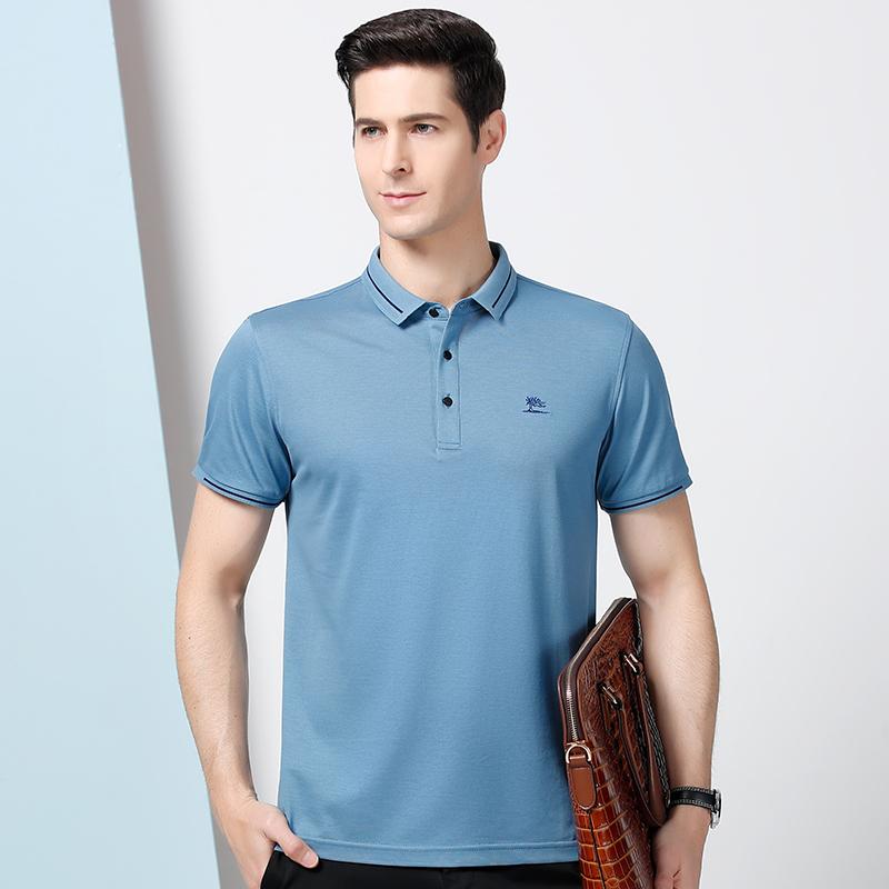 木笛男短袖t恤2021夏季新款中年男士体恤夏装半袖打底男装polo衫