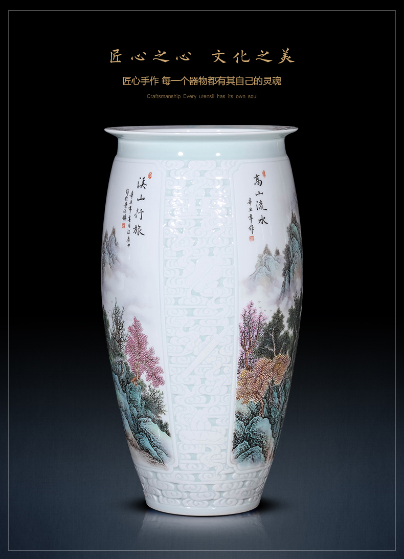 Jingdezhen ceramics vase furnishing articles by hand - made famille rose porcelain of the sitting room of Chinese style household porch decorate gifts