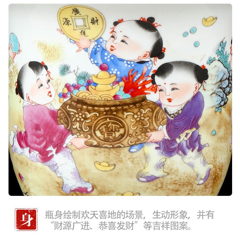 Jingdezhen ceramics pastel landscape vase furnishing articles sitting room of Chinese style household flower adornment TV ark, furnishing articles