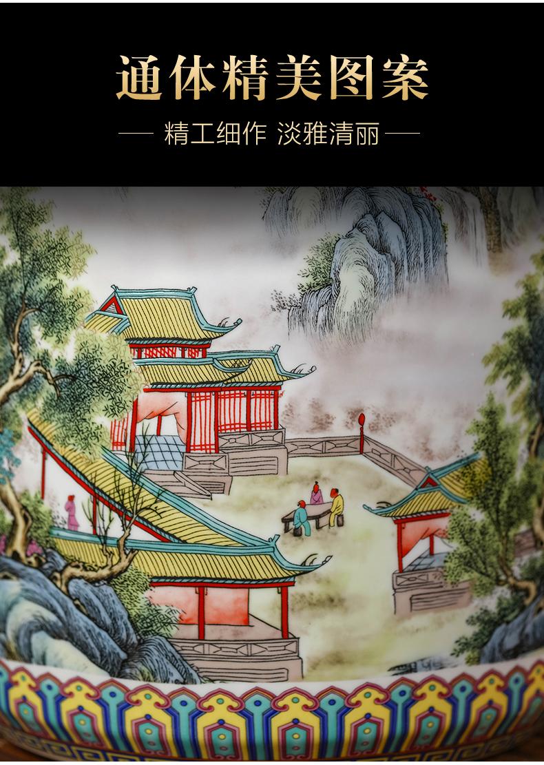 Jingdezhen ceramics powder enamel caddy fixings Chinese style household with cover seal pot tea cake moisture large storage tank