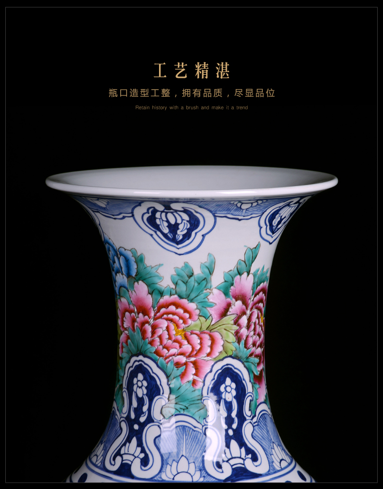 Blooming flowers color bucket landing a large vase of blue and white porcelain of jingdezhen ceramics home sitting room adornment is placed