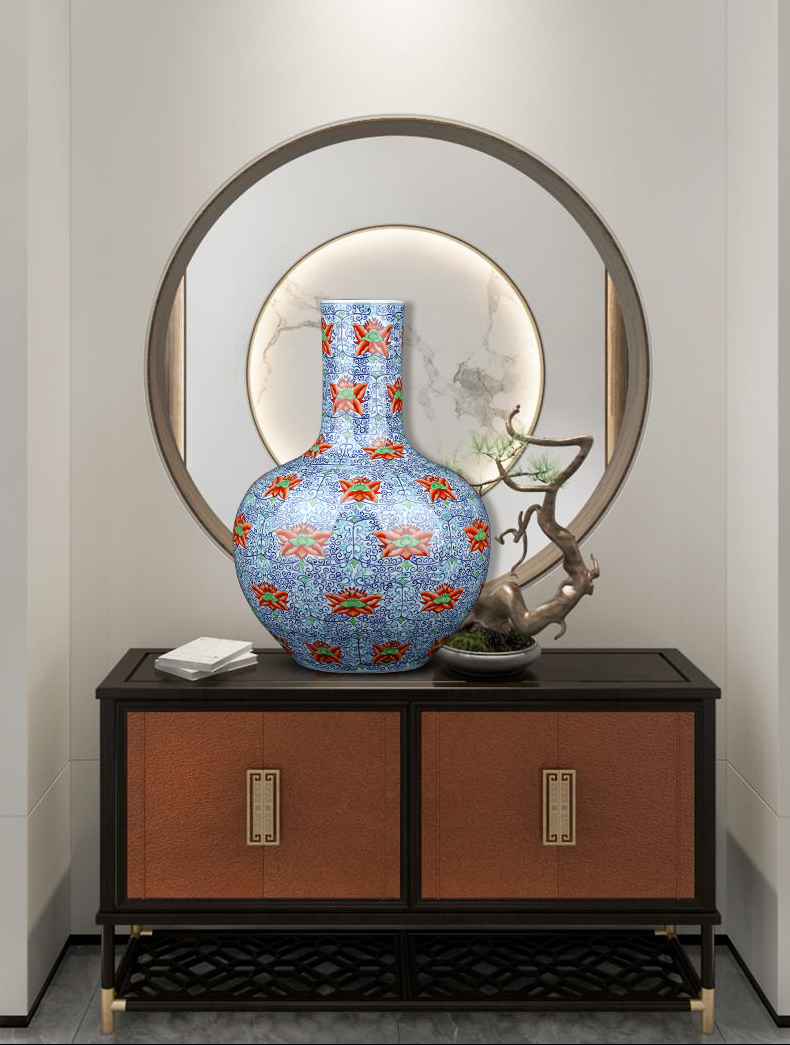 Jingdezhen ceramics celestial Chinese blue and white vase bucket color porcelain ornaments study the sitting room TV ark, furnishing articles arranging flowers