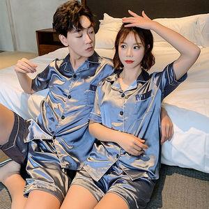 5情侣睡衣夏季冰丝薄款套装短袖家居服装