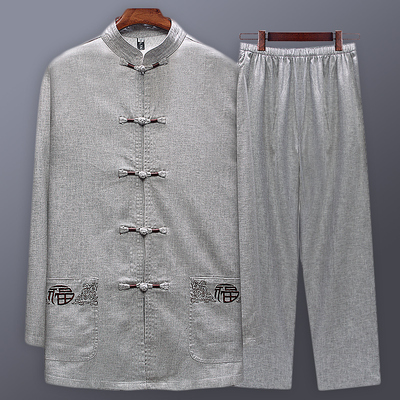 Leisure Chinese Two-piece Set of Big Size Tang Dress Men's Chinese Style Short Sleeve Men's Tide