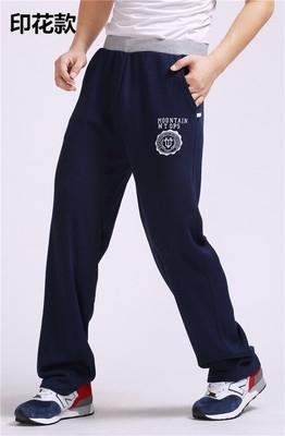 Mùa xuân và mùa thu quần thể thao nam mỏng phần mùa thu và mùa đông quần dày lỏng lẻo quần cotton thẳng giản dị cộng với chất béo cộng với kích thước cộng với nhung - Quần mỏng