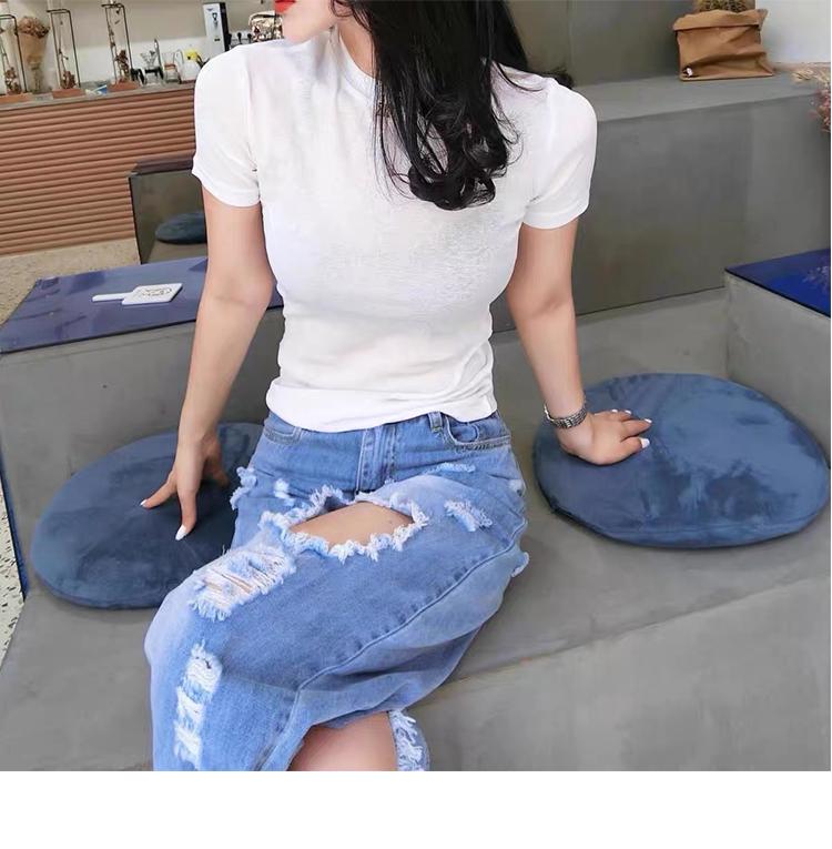欧货夏薄款修身打底衫微透纱冰丝百搭女上衣短袖恤潮纯色详细照片