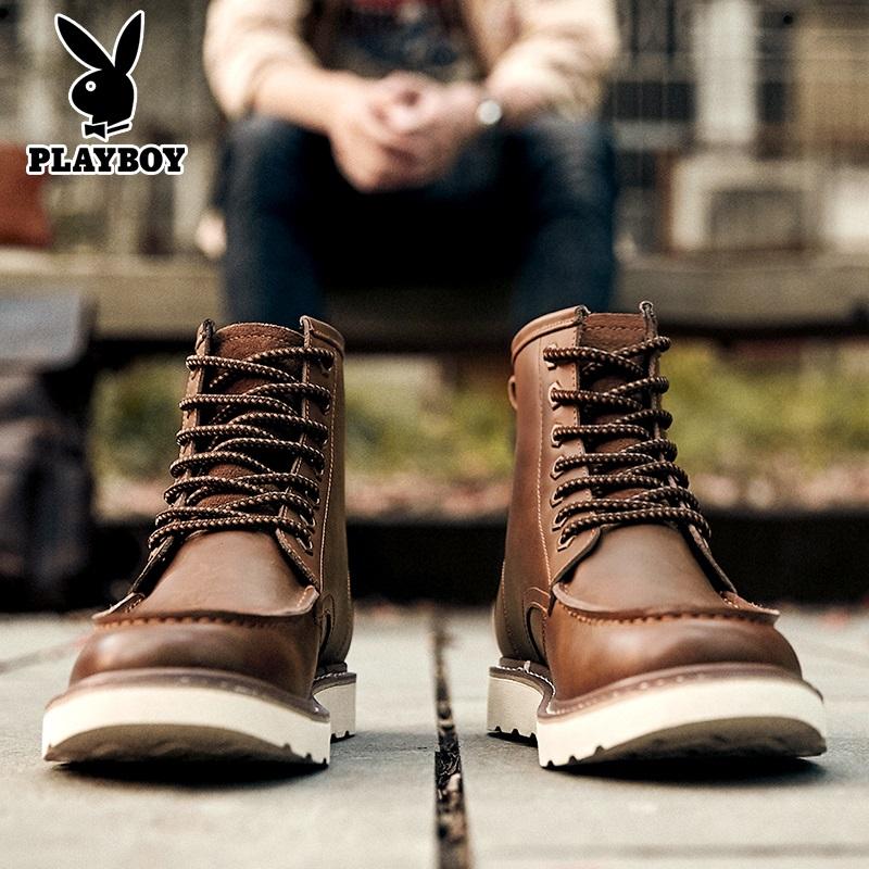 花花公子工装男冬季加绒a工装复古靴子马丁靴男中高帮英伦风短靴潮