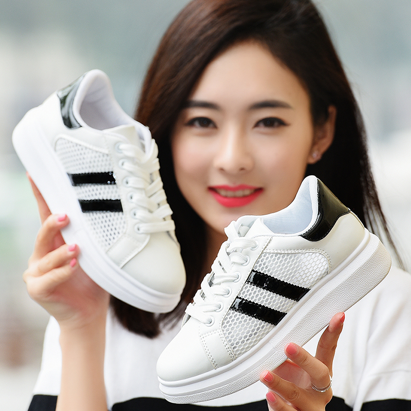 2018春夏季新款百搭韩版chic小白鞋女透气学生厚底板鞋女鞋子网鞋