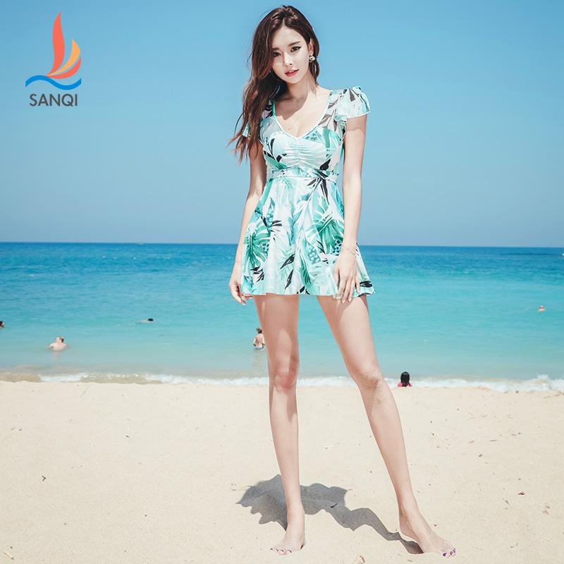 三奇泳衣女大码胖mm遮肚显瘦裙式连体保守性感韩国学生泡温泉泳装