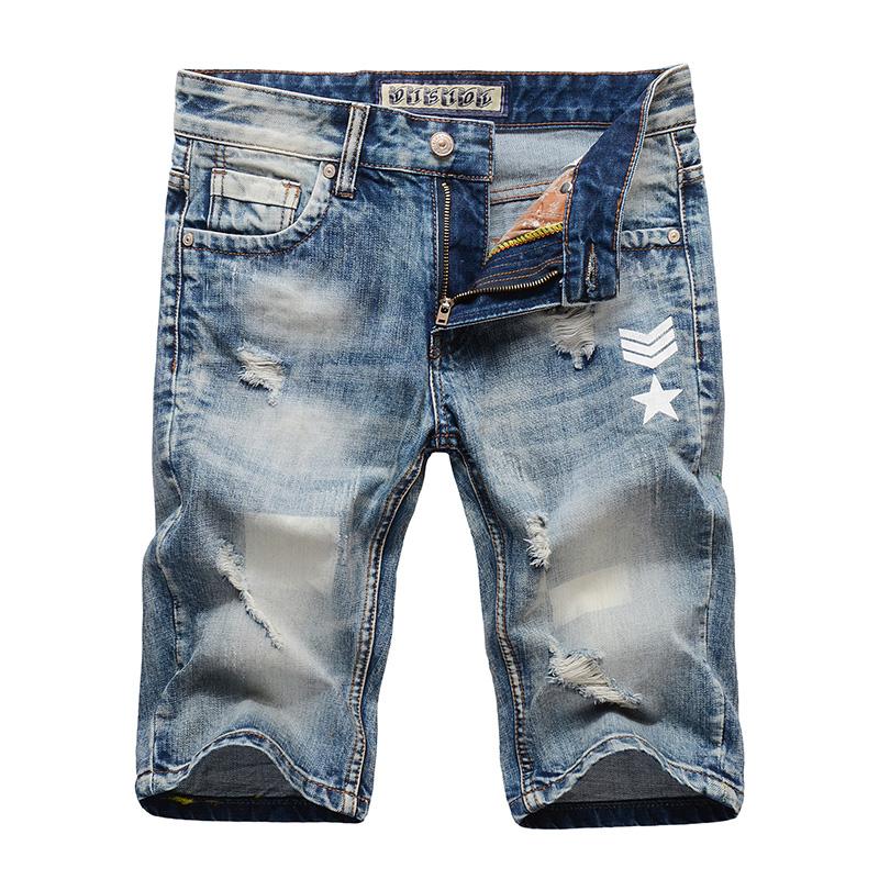 INS牛仔街头潮流磨白浅蓝男式青年短裤破洞磨烂牛仔5五分中裤