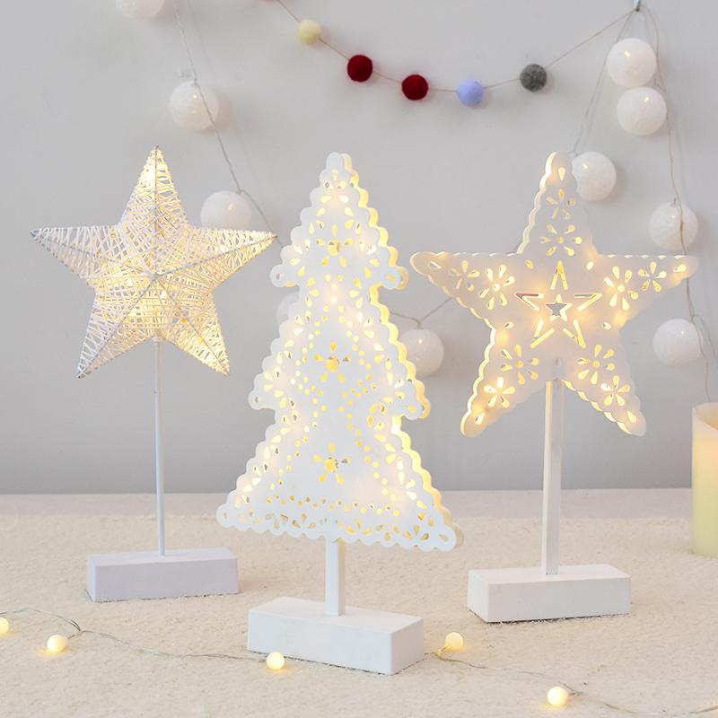 诺琪 迷你圣诞树造型台灯摆件五角星少女led浪漫小夜灯灯串装饰品