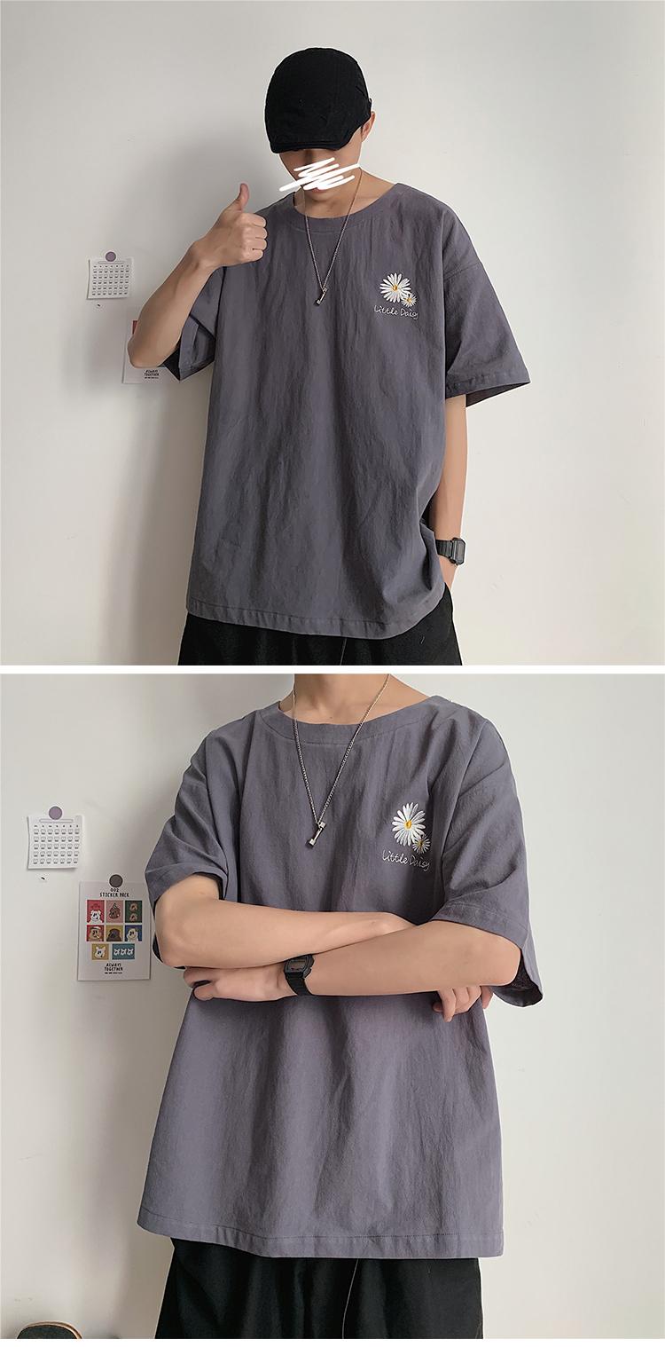 T2018/P25新款5色男士棉麻刺绣小雏菊T恤男宽松纯色大码t恤男控38