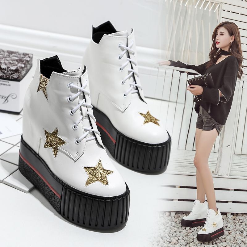 靴女坡跟2018新款高跟鞋靴子底系带短靴内百搭秋冬女