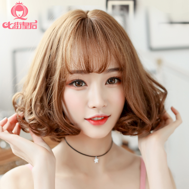 Short Curly Hair With Bangs Korean Style Cheap Frills Jewellery