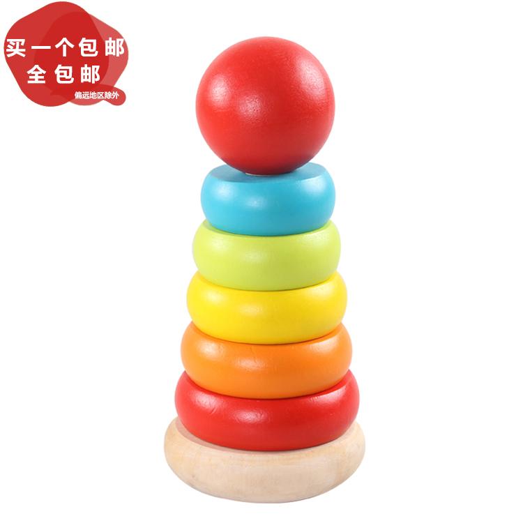 Деревянный радуга башня геморрой круг музыка 0-2 лет просветить обучения в раннем возрасте головоломка познавательный ребенок младенец младенец ребенок игрушка крышка башня