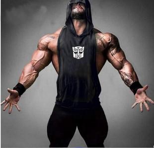 Бесплатная доставка мышца мужчина фитнес движение жилет бэтмен возвращается череп пот спортсмен плотно закрытый жилет жилет
