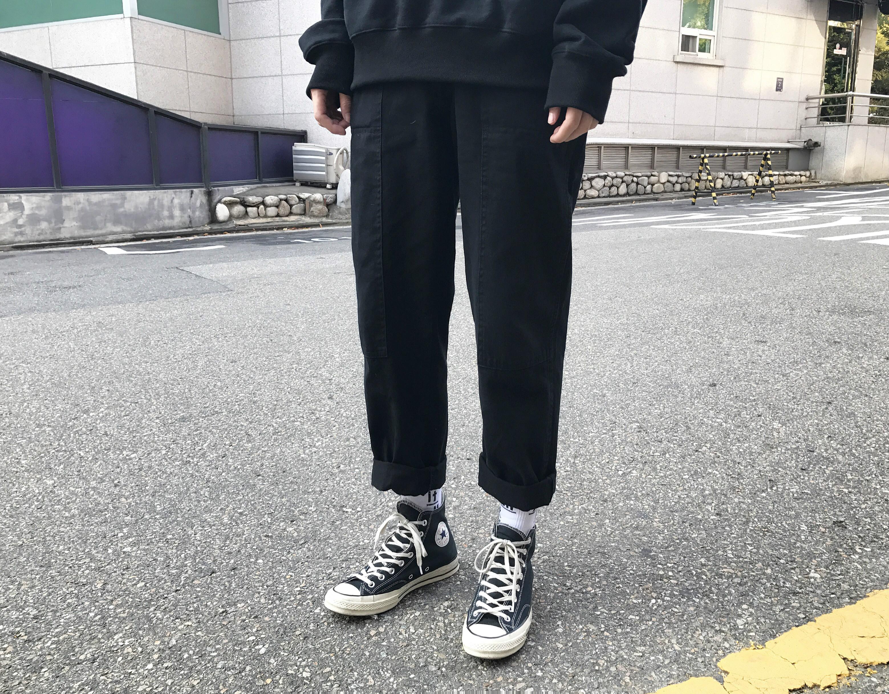 Ông fang inch 18 mùa xuân người đàn ông mới của quần Nhật Bản lỏng overalls rắn màu khâu quần âu người đàn ông thẳng quần
